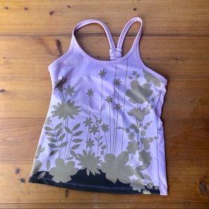 Athleta floral TANK TOP cami boho shirt shelf bra